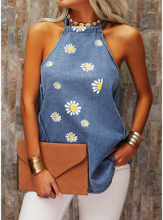 Floral Print Round Neck Sleeveless Casual Tank Tops