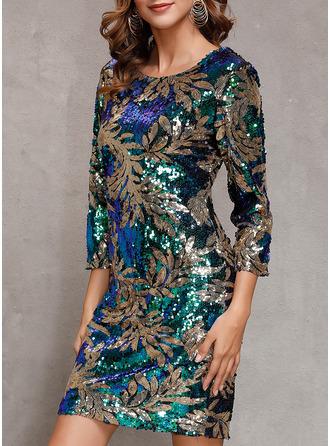 Floral Sequins Sheath 3/4 Sleeves Mini Party Elegant Dresses