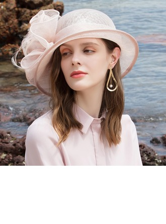 Ladies' Glamourous/Classic/Elegant/Romantic Cambric With Feather Beach/Sun Hats