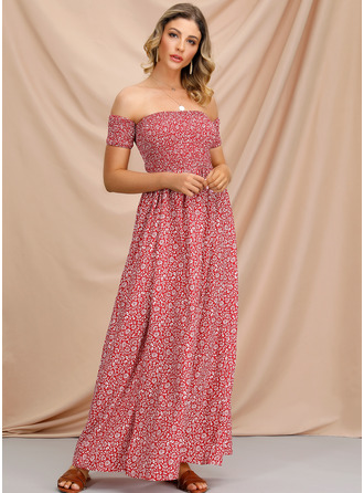 A-Line Off-the-Shoulder Ankle-Length Evening Dress With Split Front