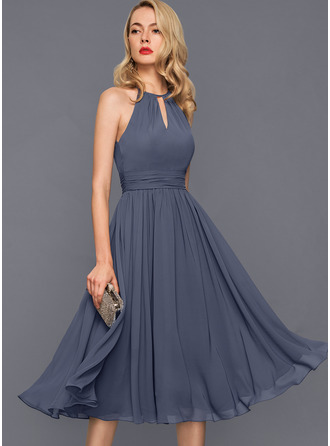 Scoop Neck Stormy Chiffon Dresses