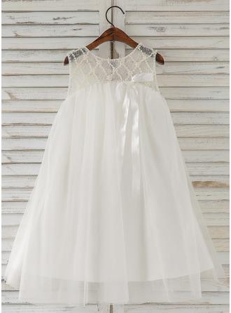 A-Line/Princess Knee-length Flower Girl Dress - Tulle Sleeveless Scoop Neck With Beading