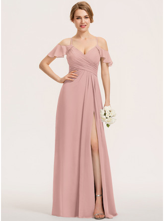 A-Line V-neck Floor-Length Chiffon Bridesmaid Dress With Split Front Cascading Ruffles