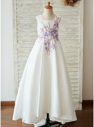A-Line Sweep Train Flower Girl Dress - Satin Sleeveless Square Neckline
