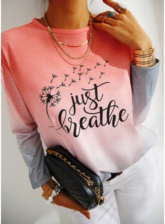 Print Gradient Dandelion Figure Round Neck Long Sleeves Sweatshirt