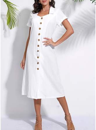 Solid Shift Short Sleeves Midi Casual Dresses