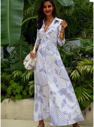 Print A-line Long Sleeves Maxi Casual Shirt Skater Dresses