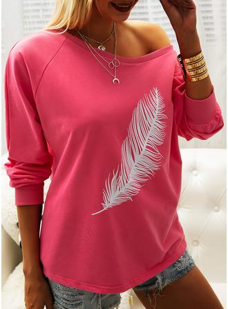 Druck Eine-Schulter Lange Ärmel Lässige Kleidung Blusen