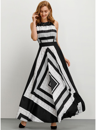 Print Striped A-line Sleeveless Maxi Party Skater Dresses
