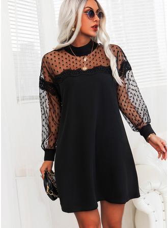 Spets PolkaDot Solid Shiftklänningar Långa ärmar Mini Den lilla svarta Elegant Tunika Modeklänningar