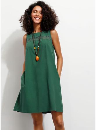 固体 シフトドレス ノースリーブ ミニ カジュアル タンク ファッションドレス