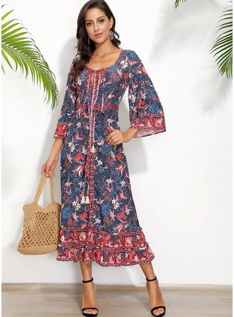 Květiny Tisk Do tvaru A 3/4 rukávy Maxi Neformální Dovolená Módní šaty