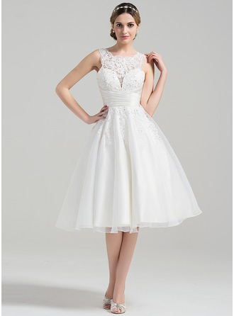 A-Line Scoop Neck Knee-Length Organza Wedding Dress With Ruffle Beading Appliques Lace Sequins