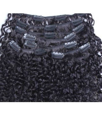 4A Non remy Kinky Curly Human Hair Clip in Hair Extensions 7pcs 100g
