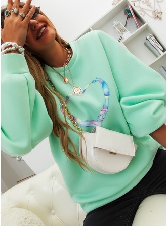 Print Round Neck Long Sleeves Sweatshirt (1001255192)