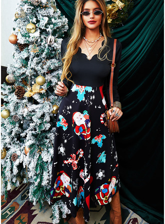 Print A-line Long Sleeves Midi Christmas Skater Dresses