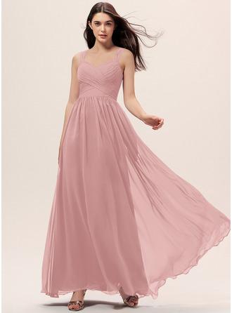A-Line Sweetheart Floor-Length Chiffon Bridesmaid Dress With Ruffle Pockets