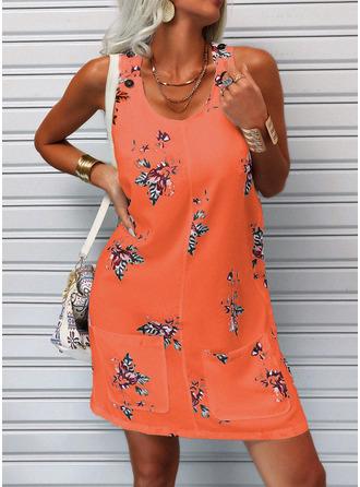 Floral Estampado Vestidos soltos Sem mangas Midi Casual Tanque Vestidos na Moda