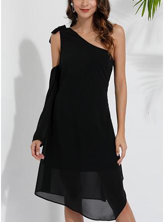 Solid Shiftklänningar Långa ärmar Asymmetrisk Fritids Tunika Modeklänningar