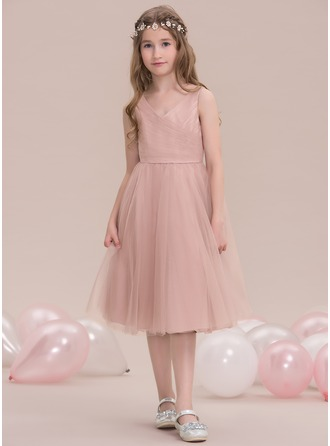 A-Line/Princess V-neck Knee-Length Tulle Junior Bridesmaid Dress With Ruffle