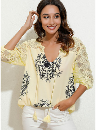 Print 3/4 Sleeves Cotton Blends V Neck Halenky
