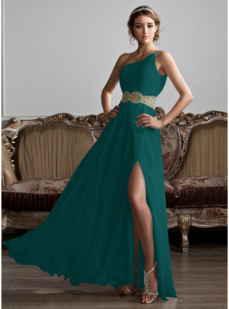 A-Line One-Shoulder Floor-Length Chiffon Prom Dresses With Ruffle Beading Sequins Split Front