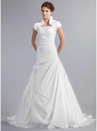 A-linjeformat Hög hals Chapel släp Taft Bröllopsklänning med Pärlbrodering Svallande Krås