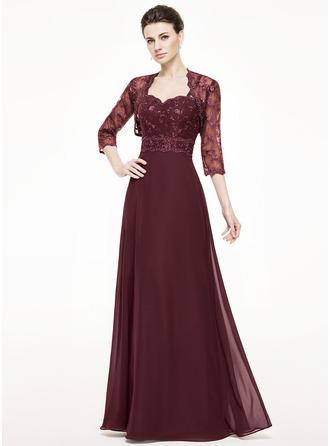 A-Linie/Princess-Linie Herzausschnitt Bodenlang Chiffon Spitze Kleid für die Brautmutter mit Perlen verziert Pailletten