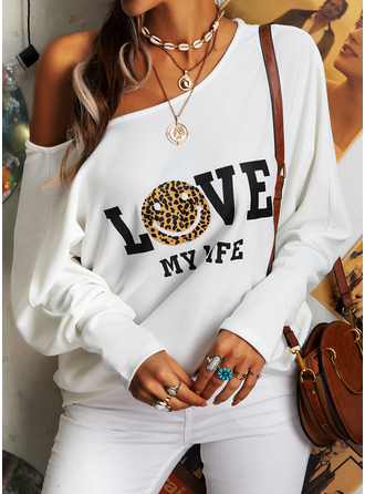 Leopard Figure Print One Shoulder Long Sleeves Casual Blouses