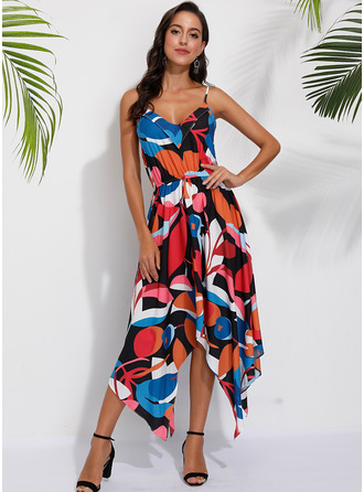 Geometric Print A-line Sleeveless Midi Casual Vacation Skater Dresses