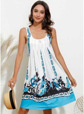 Above Knee U Neck Polyester Print Sleeveless Fashion Dresses