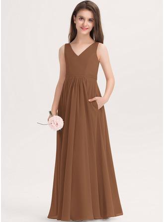 A-linjainen V-kaula-aukko Lattiaa hipova pituus Sifonki Nuorten morsiusneito mekko jossa Taskut