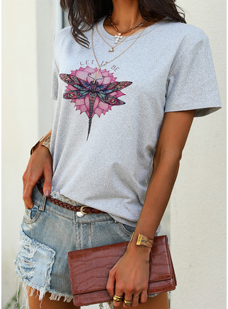 Animal Print Floral Round Neck Short Sleeves Casual T-shirt