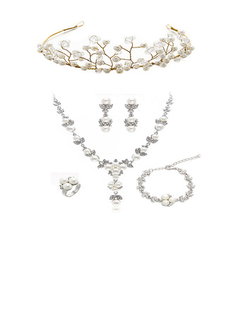 Ladies Classic Rhinestone/Imitation Pearls Tiaras (Set of 6)
