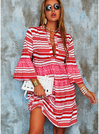 Print Striped Shift Flare Sleeve Long Sleeves Mini Boho Casual Vacation Tunic Dresses