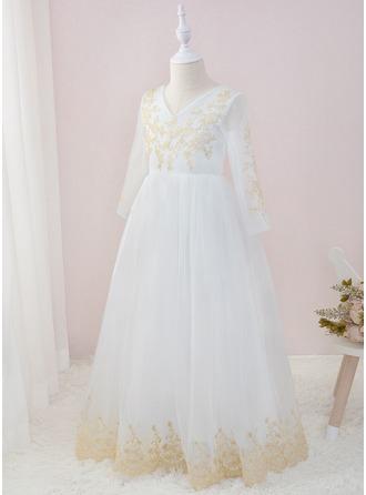 A-Line Floor-length Flower Girl Dress - Tulle/Lace Long Sleeves V-neck
