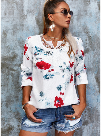 Floral Lace Print V-Neck Long Sleeves Button Up Casual Blouses