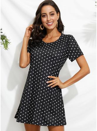 PolkaDot Sheath Short Sleeves Mini Casual Vacation T-shirt Dresses