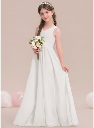 A-Linie/Princess-Linie V-Ausschnitt Bodenlang Chiffon Kleid für junge Brautjungfern mit Rüschen