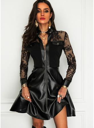 Krajka Pevný Do tvaru A Dlouhé rukávy Mini Malé černé Elegantní Skaterové Módní šaty