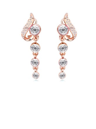 Beautiful Alloy Crystal With Gold Plated Girls' Fashion Earrings