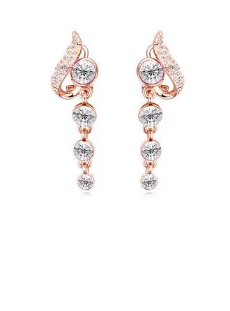 Schöne Legierung Kristall mit Vergoldet Mädchen Art-Ohrringe
