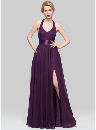 A-Line/Princess V-neck Floor-Length Chiffon Evening Dress With Ruffle Bow(s) Split Front