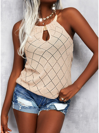 Halter Casual Print Sweaters