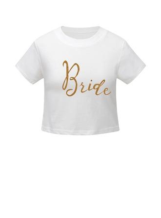 Bruid Cadeaus - Sexy Eenvoudig Katoen T-shirt Crop Top