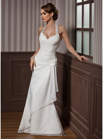 Sheath/Column Halter Floor-Length Chiffon Satin Wedding Dress With Beading Appliques Lace Sequins Cascading Ruffles