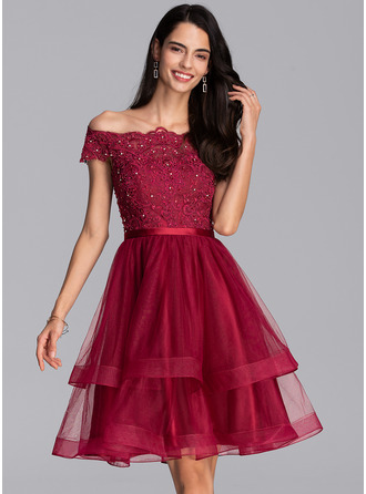 A-Line Off-the-Shoulder Knee-Length Tulle Homecoming Dress With Beading Sequins