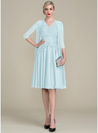 Трапеция V-образный Длина до колен Платье Для Матери Невесты с развальцовка