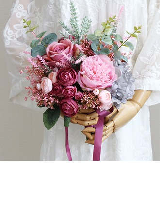 Blooming Free-Form Cloth/Ribbon Bridal Bouquets -