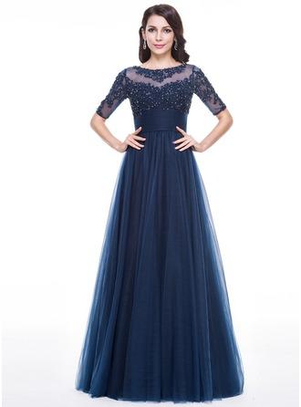 Vestidos princesa/ Formato A Decote redondo Longos Tule Vestido de festa com Pregueado Beading Apliques de Renda lantejoulas